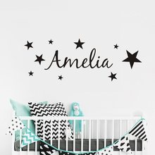 Personalized Name Wall Sticker DIY Stars Boys and Girls Art Wallpaper for Kids Room Playroom Decoration New Design LW113(China)