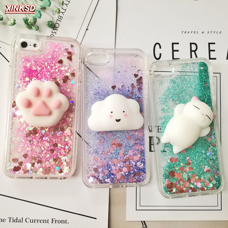 premium selection 0c7a2 53384 US $2.46 5% OFF|Aliexpress.com : Buy 3D Squishy Cat Case For iPhone 5S SE 7  7 Plus Case Liquid Quicksand Glitter Silicone Case For iPhone 8 8 Plus X 6  ...