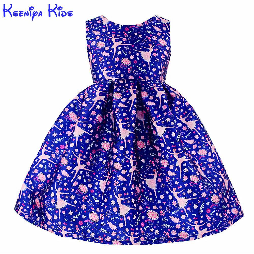Online Shop Kseniya Kids Ballet Girl Print Dress 2017 New Year Kids ...