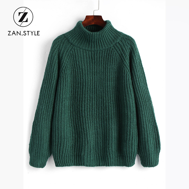style winter warm turtleneck chunky raglan sleeve christmas sweater thick knit solid basic oversize