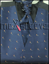 navy fabreic with lovely birds free shipping Men's Suit Tuxedo Dress Vest 4pcs