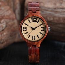 hot deal buy full red sandalwood women's bracelet watches bamboo creative quartz women watch wooden handmade ladies dress wristwatch 2017 new