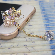 Hot sale fashion mobile phone accessories small flower 3.5mm dust plug ear plugs