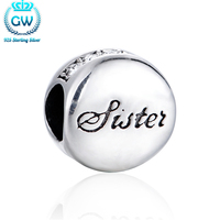 Letter Sister Silver Charm Beads With Crystal 925 Sterling Silver Jewelry Charm Bracelet Beads Jewelry Making