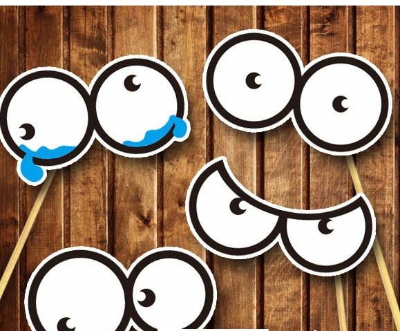 4 Different Round Eyes DIY Photo Booth Props Wedding Party Marriage Supplieson Sticks Baby