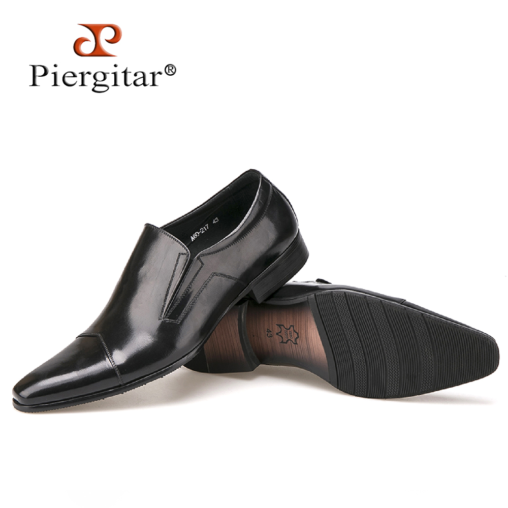 piergitar comfortable genuine leather slip on dress