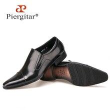 Piergitar Komfortable Echtem Leder Männer Slip auf Kleid Schuhe Spitz Business Formals Oxfords Schuhe für Männer männer Flache