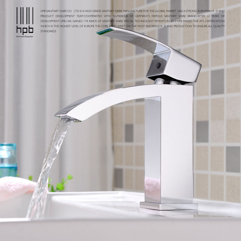 HPB Brass Mixer Bathroom Basin Faucet Waterfall Single Hole Single Handle Hot and Cold Water Sink Mixer Tap HP3020 hpb pull out bathroom faucet brass sink basin mixer tap cold hot water chrome single hole handle fashion design quality hp3030