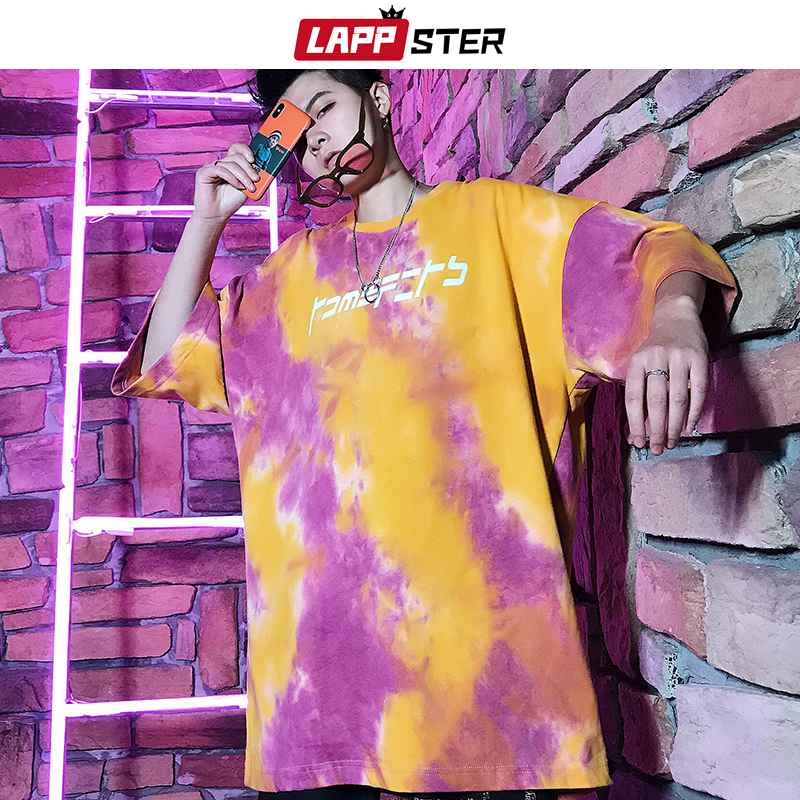 5922d36fc869 LAPPSTER Streetwear Hip Hop Tie Dye Shirt 2019 Summer Harajuku Men Funny T  Shirts Hypebest Loose Tshirt Korean Fashion Tops Tees