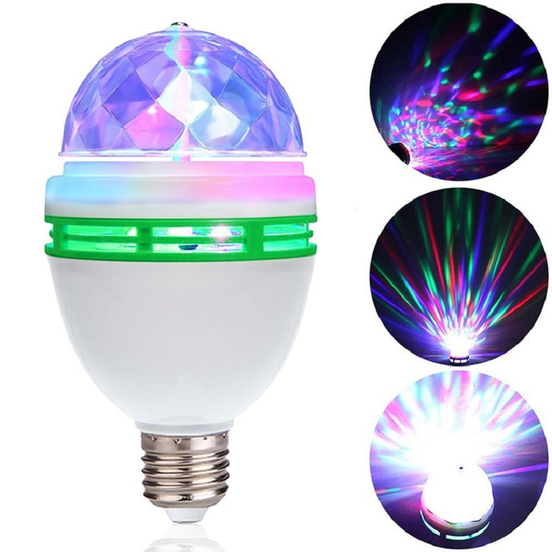 USA 3W RGB LED Color Rotating Lamp Disco Party Bar Club Effect Stage Light Bulb