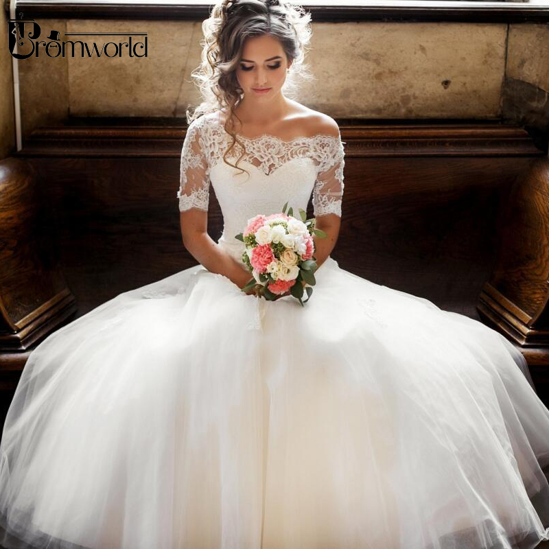 Illusion Off The Shoulder Princess Wedding Dress 2019 With Sleeves Lace Tulle Ball Gown Robe De Mariee Boho Wedding Gowns