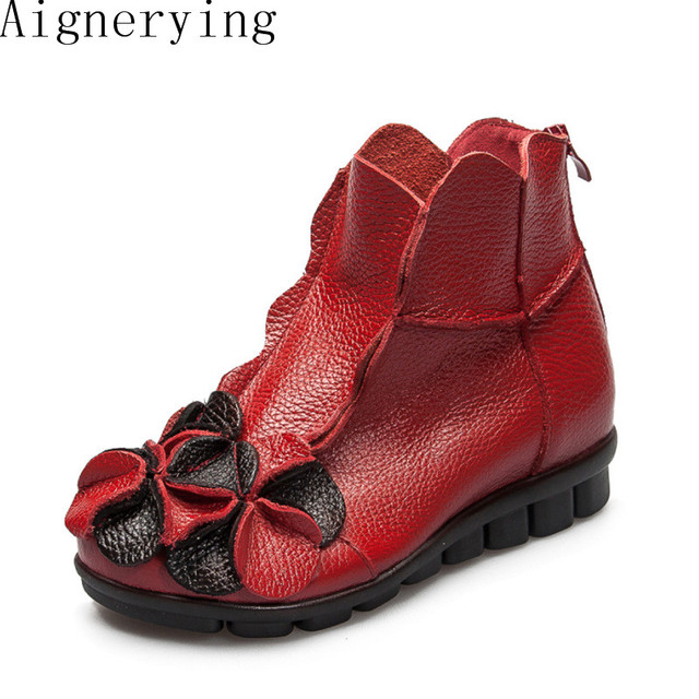 Winter New fashion women genuine leather shoes height increasing shoes flats ankle boots short boots Flower