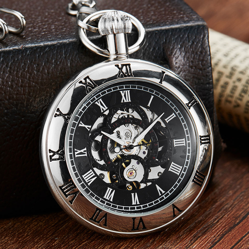 Antique Silver Mechanical Pocket Watch Roman Numerals Dial Skeleton Luxury Retro Bronze Men Mechancial Pocket Watches With Chain