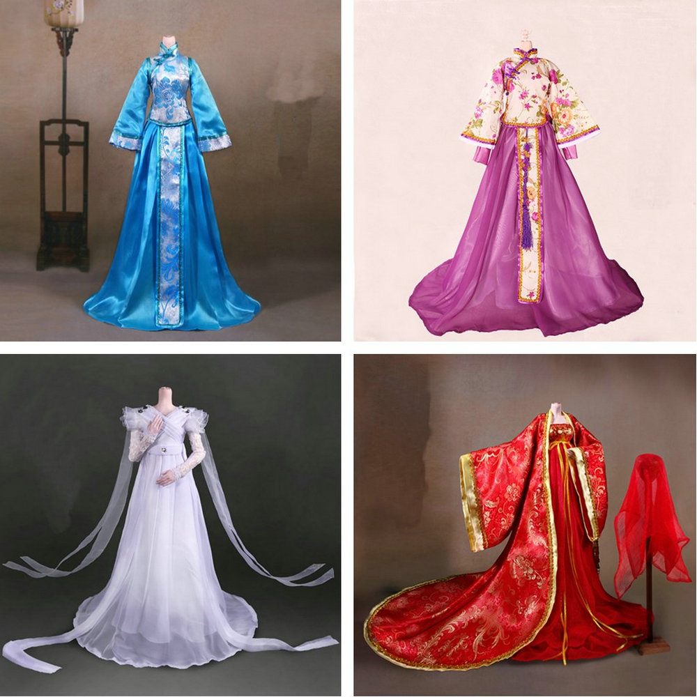 Handmade Ancient Costume Girl Dress Chinese Doll Clothes For 1/3 Bjd Dolls Accessories For Doll Toys For Girls