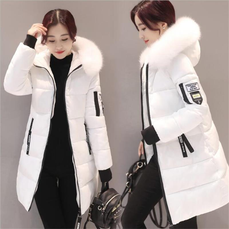 Warm Big Fur Hooded Quilted Coat Winter Jacket Woman 2019 Fashion Solid Color Zipper Down Cotton   Parka   Plus Size Slim Outwear