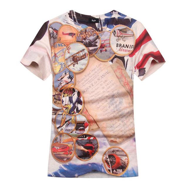 2016 Nueva Llegada 3D Hombres de la Camiseta de Moda de Verano de Diseño de Avión impreso Mens Slim Fit Cuello En V Camiseta hombres de la Marca de Camisetas 3xl