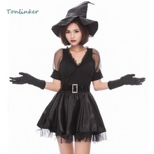 Halloween Gothic Evil Witch Cosplay Sexy Costume Adult Womens Black Short Dress+Hat Women Party Carnival Cosplays Clothing
