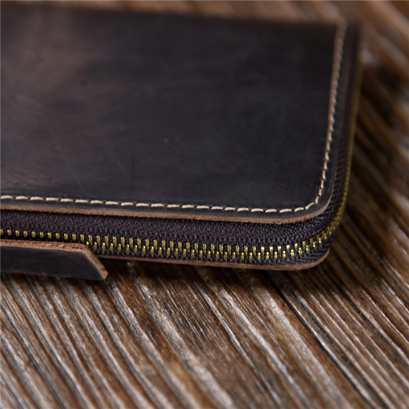 PNDME vintage handmade cowhide leather wallet genuine leather men 39 s women 39 s zipper small coin purses card ID holders card case in Wallets from Luggage amp Bags