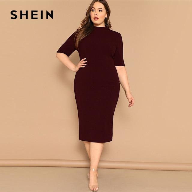 SHEIN Classy Black Plus Size Mock-neck Solid Pencil Slim Dress Women Spring Office Lady Bodycon Basics Plus Size Long Dresses 2