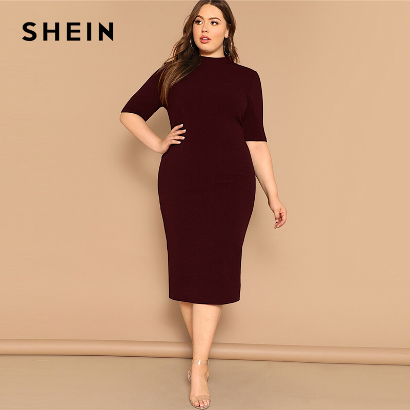 SHEIN Classy Black Plus Size Mock-neck Solid Pencil Slim Dress Women Spring Office Lady Bodycon Basics Plus Size Long Dresses 2