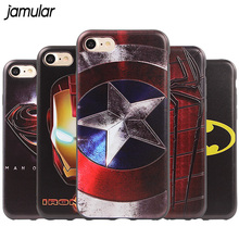 Superman Spiderman Captain America Silicone Phone Case for iPhone 7 6 6s 8 Plus X Cases Back Cove