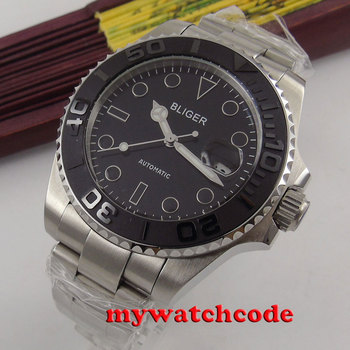43mm Bliger black dial date window sapphire glass automatic mens wrist watch 174