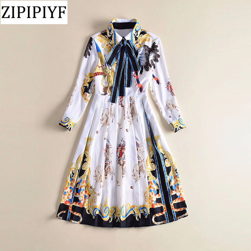 Milan Catwalk New High Quality Runway Designer 2018 Spring Fashion WomenS Party Office Girls Print Long-Sleeved Dress VXR017