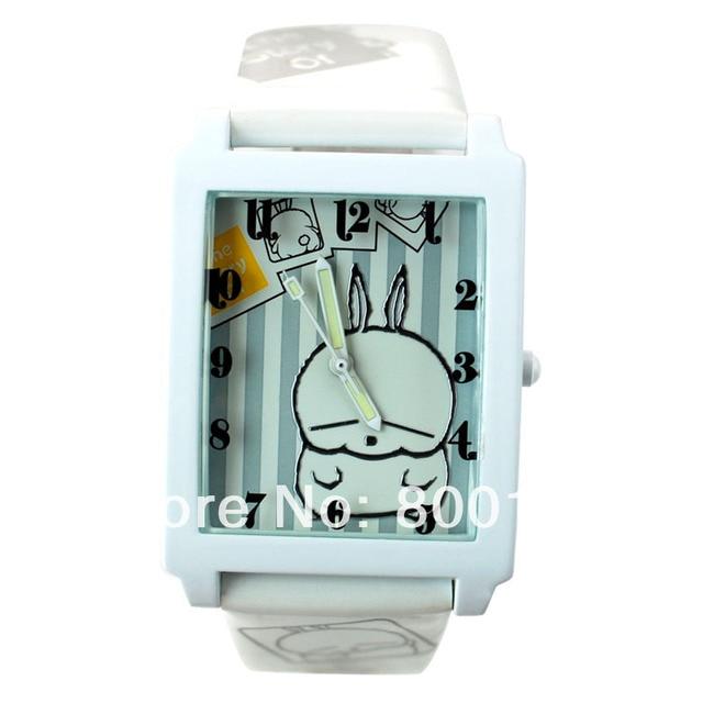 Rectangle design cartoon dial leather strap children's quartz watch LMT-91034