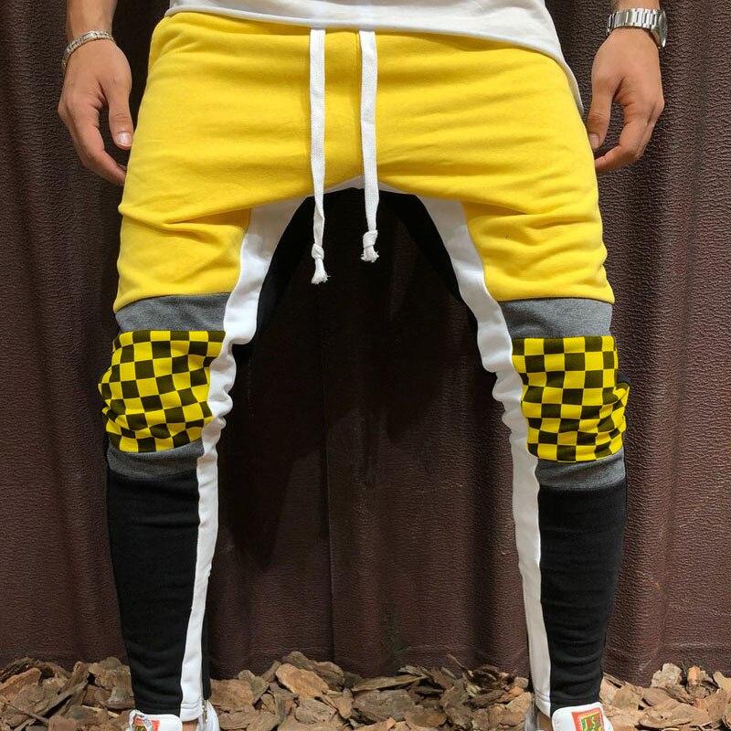 Elastic Streetwear Hip Hop Pants Men Casual Pants Summer Men Hip Hop Pants Patchwork Plaid Sweatpants Trousers Men Clothes 2019
