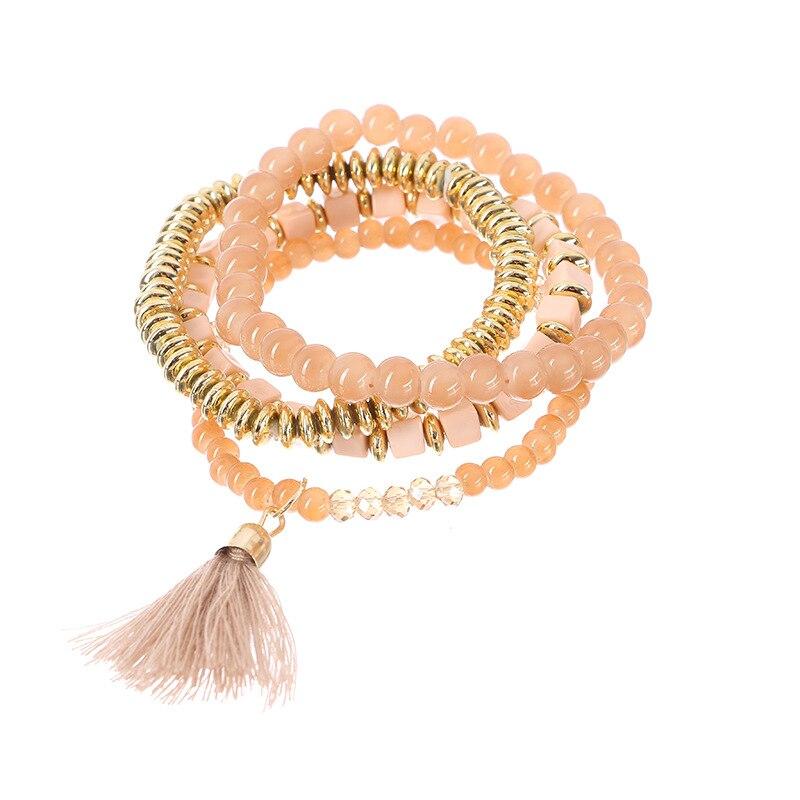 Trendy Jewelry Bracelets Bohemian Multilayer Retro Natural Stone Beaded Tassel Pendant Alloy Elastic Bracelet for women gift
