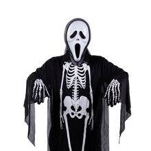 Из трех частей скелеты Хэллоуин комплект Маскарад Dance Череп Костюм призрака+ Ужасы Зомби Маска+ перчатки кости Косплэй реквизит