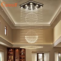 Modern Elegant Led Large Crystal Chandeliers Lighting Fixtures For Hotel Villa Crystal Ball Shape Lamp