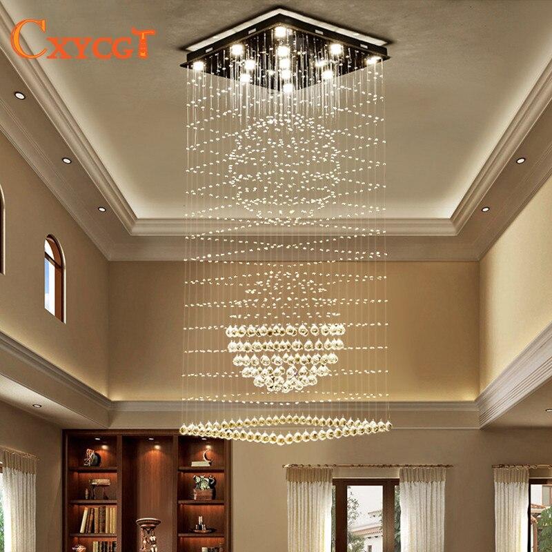 Moderne Élégant led Grand Cristal Lustres Luminaires pour Hôtel Villa Cristal Lampe De Forme De Boule
