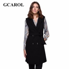 GCAROL Noticed Double Breasted Waistcoat With Sashes High Quality Thick OL Sleeveless Long Jacket Autumn Winter Outwear