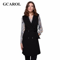 GCAROL New Arrival Double Breasted Button Waistcoat With Sashes High Quality Thick OL Fashion Autumn
