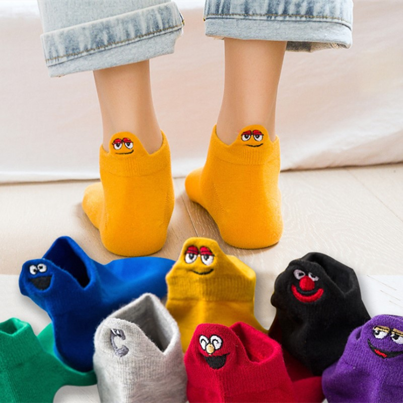 Women   Socks   Kawaii Embroidered Funny Expression Happy Ankle   Socks   Women short Cotton harajuku art cute   socks   SK018