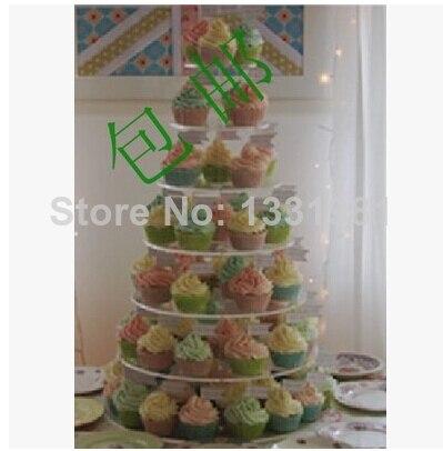 Слои 7 Свадебные украшения полка hotel свадебное шампанское стол круговой стеклянная башня yakeli Европейский торт стенд пакет почты