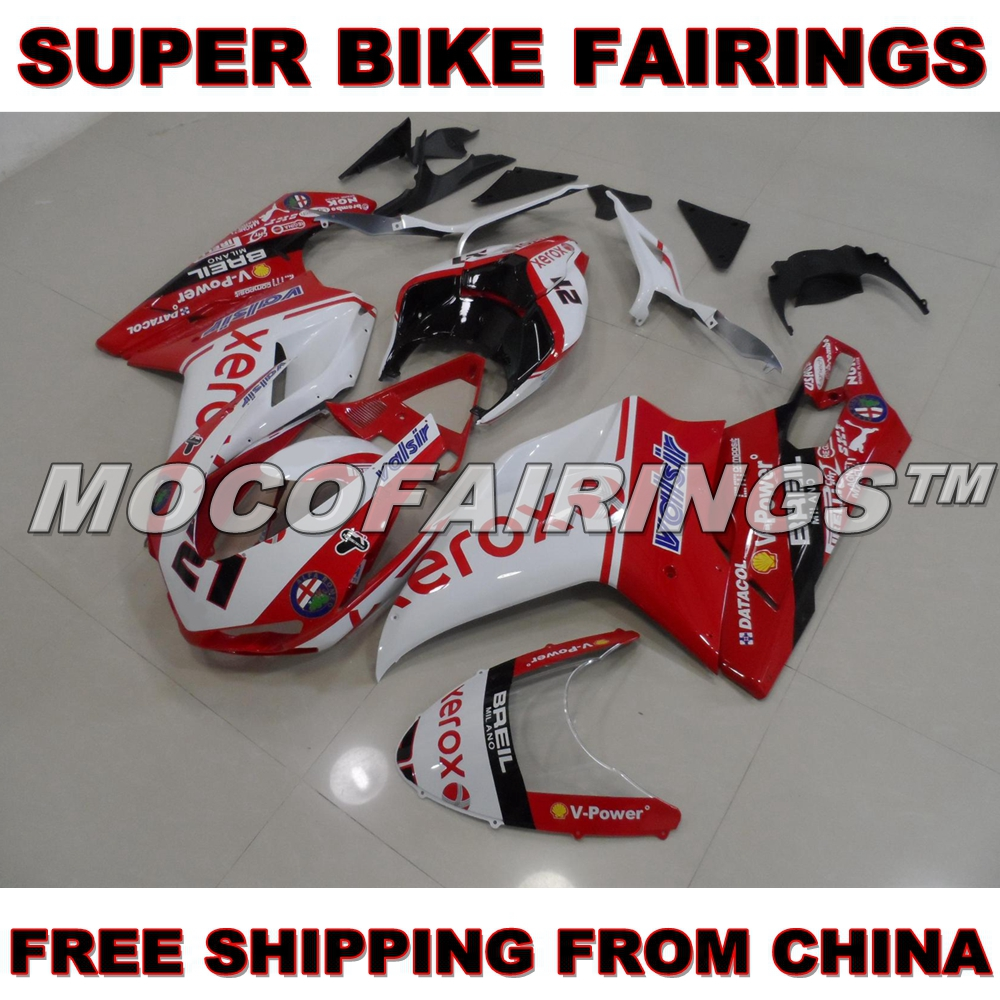 2007-2012 848 1098 1198 S / R / EVO Motorcycle Injection ABS Fairing Body Kit For Ducati XEROX 2008 2009 2010 2011 Fairings Kits abs chrome front grille around trim for ford s max smax 2007 2010 2011 2012