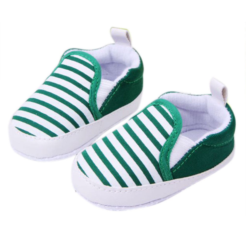 Kids Baby Boys Girls Stripes Anti-Slip Sneakers Soft Bottom Shoes Size 3-12M New