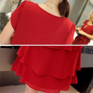 Image 5 - Vestido casual feminino, chiffon verão a nova moda plus size 5xl solto casual plissado vermelho para moças elegante festa coquetel