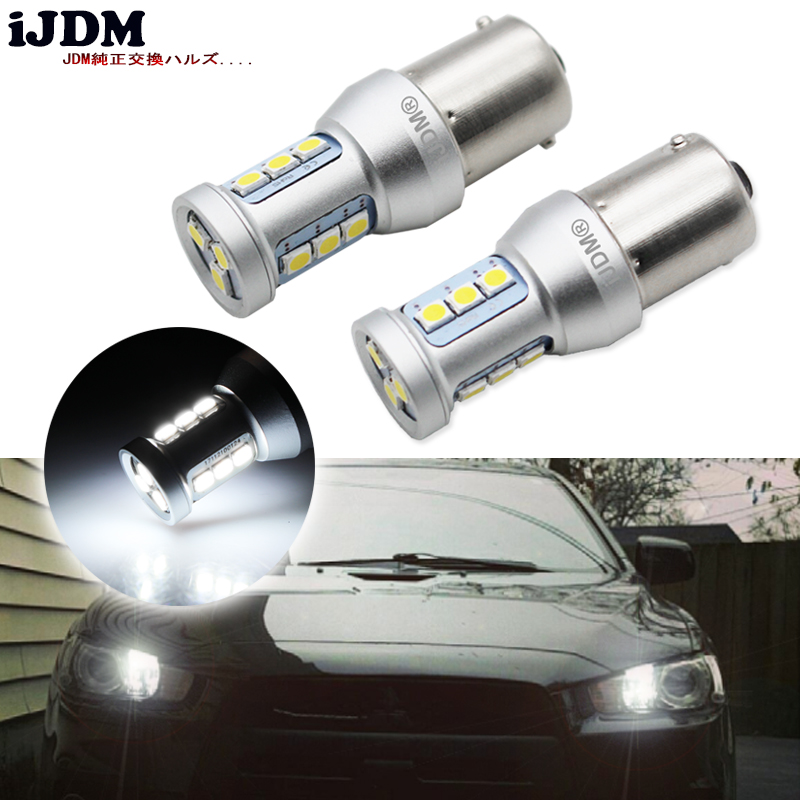 iJDM 1156 <font><b>LED</b></font> canbus Error Free White BA15S P21W <font><b>LED</b></font> Bulbs For 2008-up <font><b>Mitsubishi</b></font> <font><b>Lancer</b></font> or Evolution <font><b>X</b></font> Daytime Running Light image