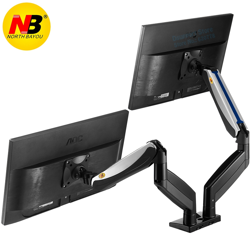 купить NB F185A Aluminum Alloy 22-27 inch Dual LCD LED Monitor Mount Gas Spring Arm Full Motion Monitor Holder Support with 2 USB Ports по цене 6721.55 рублей