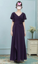Elegant Dark Purple Mother of the Bride Dresses For Weddings Sleeves Long Gowns Wedding Party Dress 2019