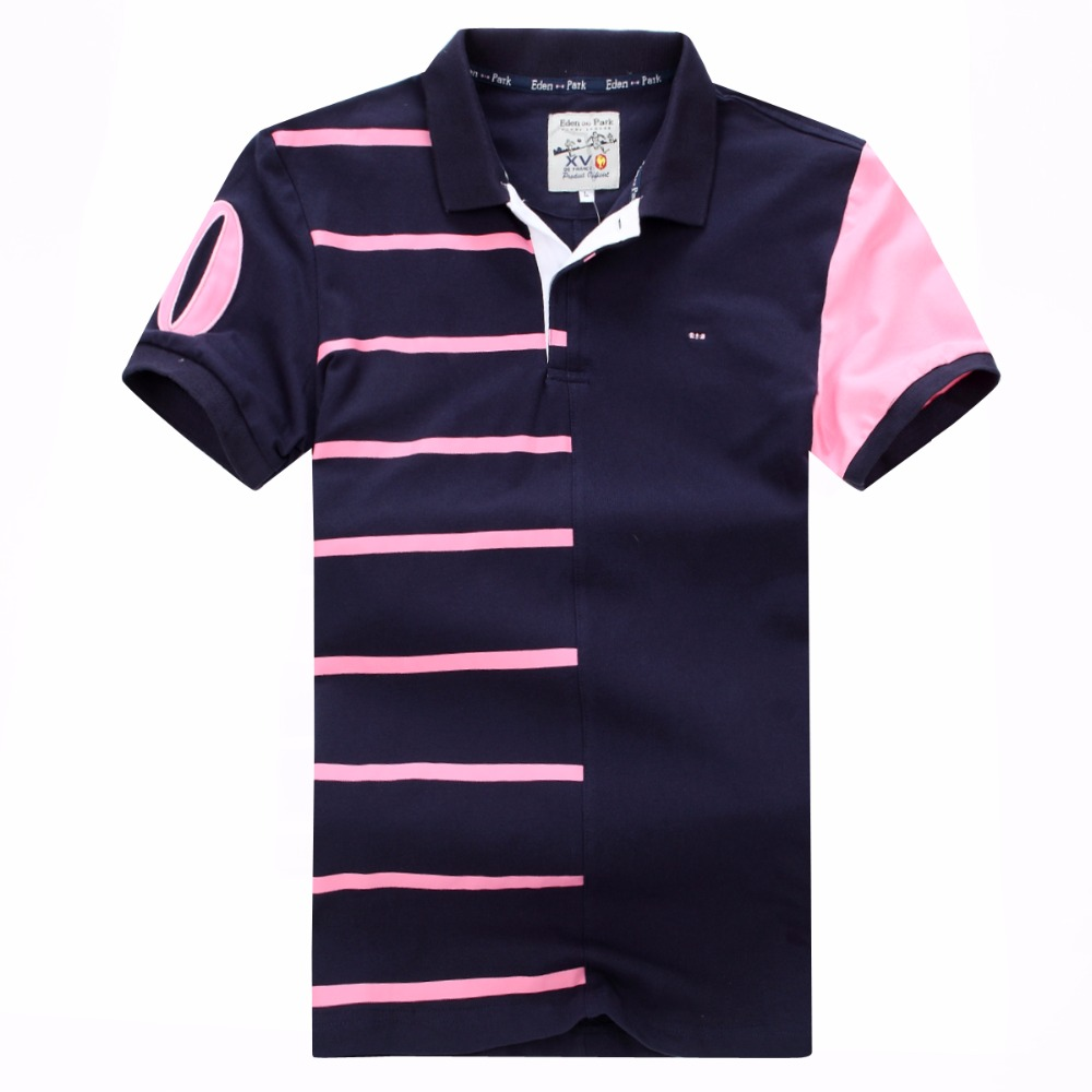 2019 hot selling New men's Eden park Short   polos   shirt striped COTTON Embroidery tees for Men Fraench brand plus Size XXXL