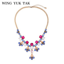wing yuk tak Fashion Brand Jewelry Luxury Multicolor Crystal Pendant Statement Necklaces For Women High Quality Necklace Bijoux