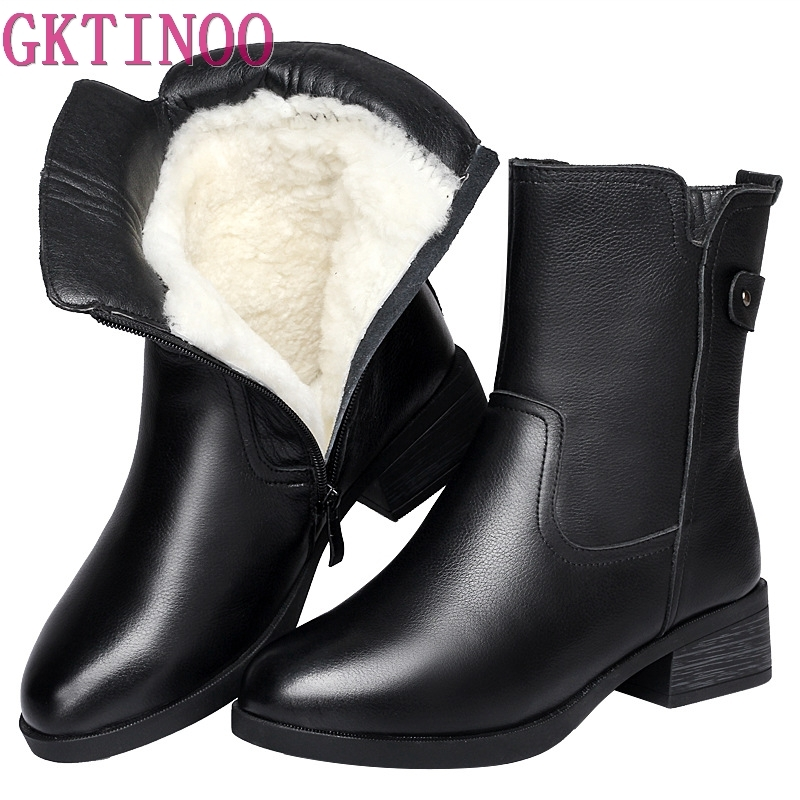 2d469f320ea Cómodo Nieve Martin Moda Vaca Gktinoo Cuero Negro Zapatos Caliente Invierno  Botas 2018 Las Mujer Lana De Nueva Mujeres UdFdBAqxn
