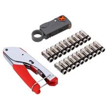 Coaxial Cable Manual Crimping Tool Set Kit For F Connector RG59 RG6 Coax Cable Crimper With 20pcs Compression Connectors