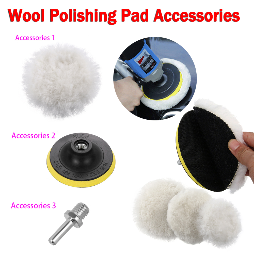 4/5/6 Inch Wool Polishing Buffing Waxing Pad Accessories Wool Polishing Pad Polishing Plate M14 Connector Drill Cleaning Tools Strengthening Waist And Sinews Motorcycle Accessories & Parts