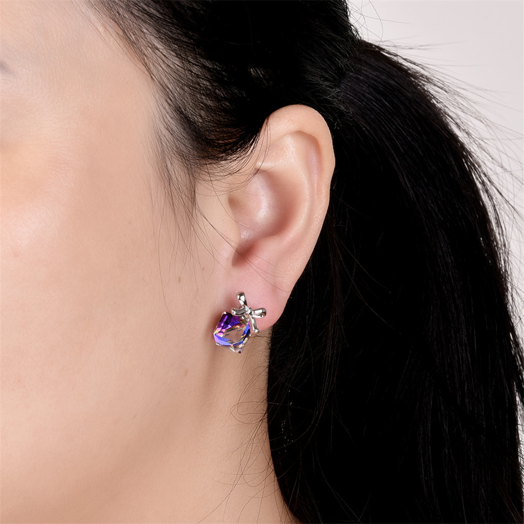 1 Pair Western Women Girls Fashionable Purple Ripe Fruit Glass Stone Charm Cute Elegant Earrings