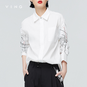 Asymmetrical Striped Embroidery Blouse Loose Women Printed Lapel